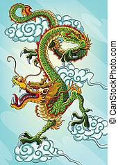 gemälde, chinesischer drache