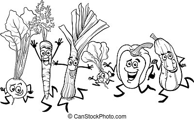 Gemüse-Cartoon für Farbgebung.