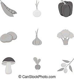 Gemüse setzt Symbole im monochromen Stil. Große Sammlung von Gemüse-Vektor-Symbol Aktien Illustration