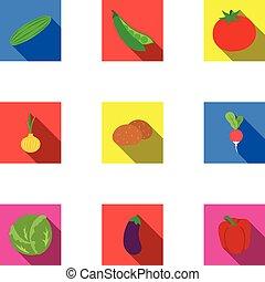 Gemüse-Symbole im flachen Stil. Große Sammlung von Gemüse-Vektor-Symbol Aktien Illustration