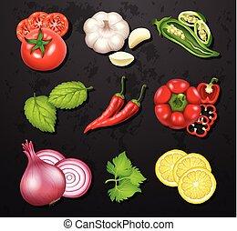 Gemüse und Kräuter.