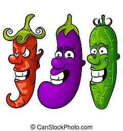 Gemüse. Vektorgrafik einstellen
