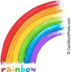 gemalt, acryl, vektor, bild, regenbogen