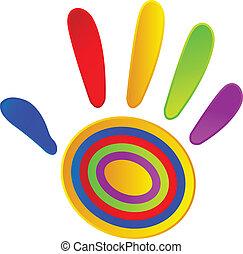 gemalt, farben, lebhaft, hand