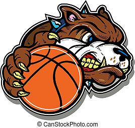 Gemeine Bulldogge mit Basketball