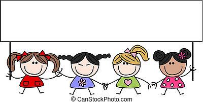 Gemischte ethnische glückliche Kinder