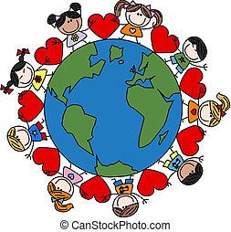 Gemischte ethnische glückliche Kinder lieben