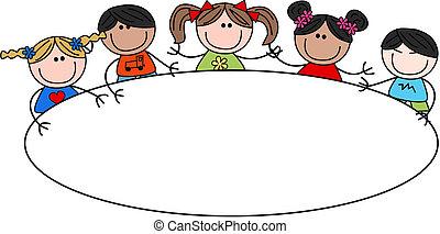 Gemischte ethnische Kinder Kopf