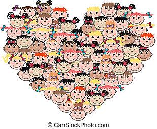Gemischte etnische Kinder lieben