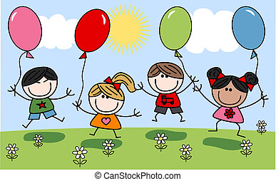 Gemischte glückliche Kinder