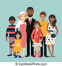 Gemischte Rassenfamilie mit 5 Kindern. Kartoonbeleuchtung, Vektor.