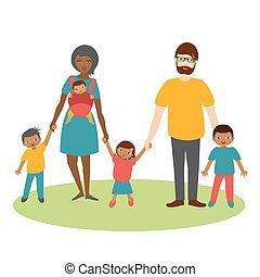 Gemischte Rassenfamilie mit drei Kindern. Kartoonbeleuchtung, Vektor.