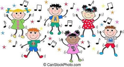 gemischter, tanzen, kinder, ethnisch, disko