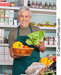 gemuese, verkauf, verkäufer, älter, kaufmannsladen