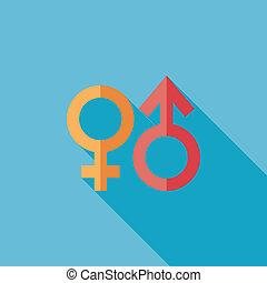 Gender Symbol flache Ikone mit langem Schatten.