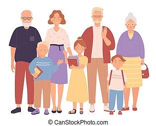 generation, abbildung, wohnung, zeichen, drei, familie, vektor, voll, begriff, glücklich
