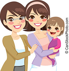 generation, junge familie, drei