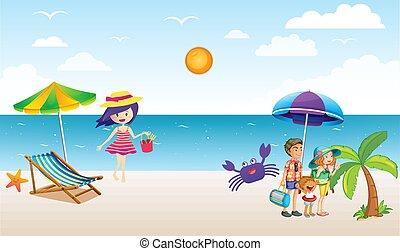 genießen, ausländer, sandstrand, familie