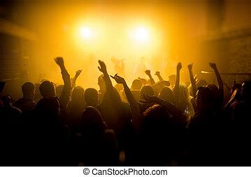 genießen, gruppe, concert, leute