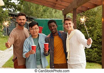 genießen, maenner, junger, ethnisch, multi, party