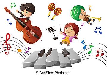 genießen, musik, spielende , kinder
