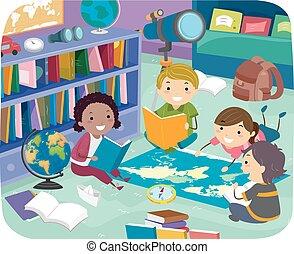 geographie, stickman, zimmer, kinder, abbildung, lesende