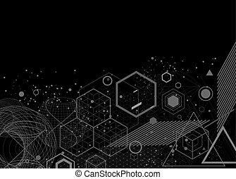geometrie, symbole, elemente, hintergrund, heilig
