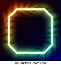 geometrisch, raum, text, neon, rahmen, design