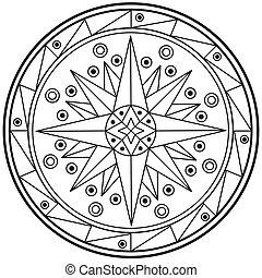 Geometrische Mandala zeichnet den heiligen Kreis