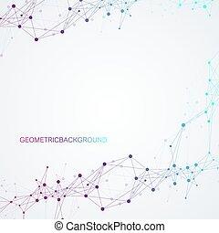 Geometrischer abstrakter Vektor mit angeschlossener Linie und Punkt. Globale Netzwerkverbindung. Technologischer Sinn abstrakte Illustration.