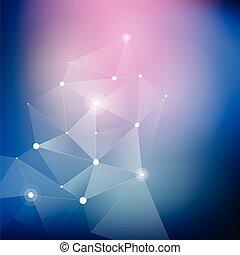 Geometrischer abstrakter weißer Polygon, fractal. Verbindung von Punkten und Zeilen auf dem blauen Fleck Hintergrund.