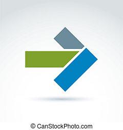 Geometrisches abstraktes Symbol mit Pfeil, Vektorgrafik Design elem.