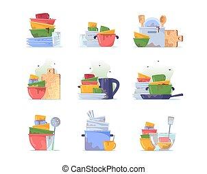 geräte, glas, geschirr, haufen , dreckige , wasser, waschen, küchengeschirr, satz, becher, unhygienisch, unordung, geschirr, oder, stapel, platten