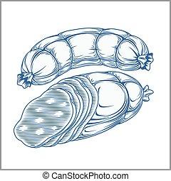 Geräuchertes Fleisch, Speck, isoliert auf weißem Hintergrund. Handzeichnung im klassischen Stil.