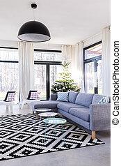 Geräumiges Zimmer mit Teppich