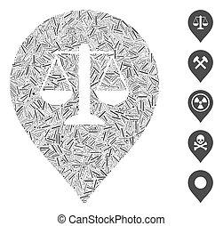 gerechtigkeit, ikone, gewicht, collage, markierung, linie