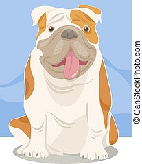 German Bulldog dog cartoon.