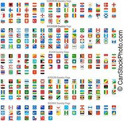 Gerundete Quadrat vektorische nationale Flaggen Icons.