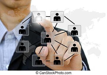 Geschäft junge Leute, die Kommunikation sozialen Netzwerk auf Whiteboard.