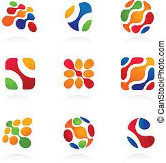 Geschäftliche abstrakte Ikonen, farbenfrohes Set