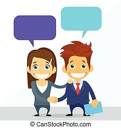 Geschäftliches Paar Mann und Frau Handschlag reden.
