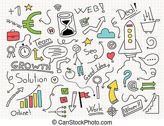 geschäfts-ikon, hand, vektor, abbildung, gezeichnet