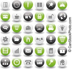 Geschäfts- und Büro-Ikonen bereit