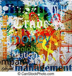 Geschäftsessen. Ein Wort Grunge Collage im Hintergrund