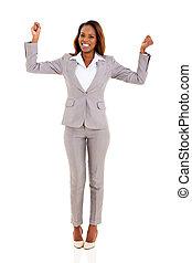 geschäftsfrau, amerikanische , aufgeregt, afrikanisch