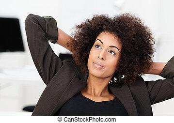 geschäftsfrau, amerikanische , junger, afrikanisch