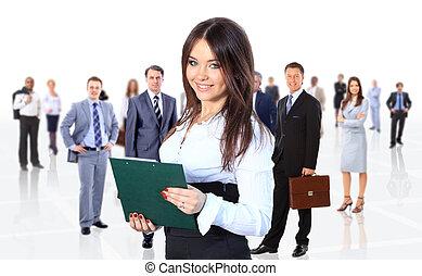 Geschäftsfrau, die ihr Team führt, isoliert über einen weißen Hintergrund