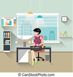 Geschäftsfrau, die in ihrem Büro arbeitet