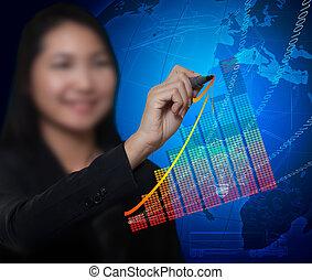 Geschäftsfrau, die Wachstum zeichnet, neigt zu wirtschaftlichem Erfolg und digitalem Hintergrund
