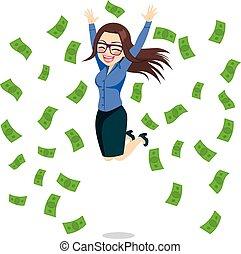 Geschäftsfrau glücklich über Geld.